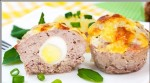 Meat cakes with quail eggs