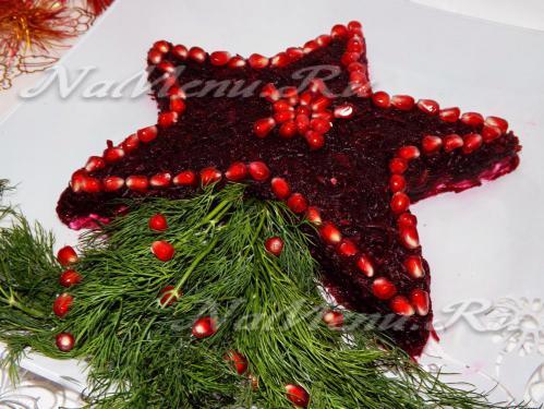 Слоеный салат с курицей «Рождественская звезда»