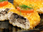 Turkey cutlets with filled mushroom