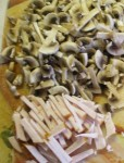 French salad with mushroom and smocked meat